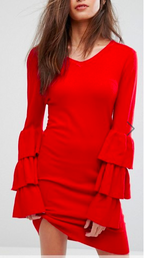 PrettyLittleThing Ruffle Sleeve Knitted Dress