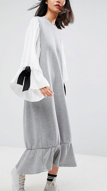 ASOS WHITE Open Back Sweat Dress With Contrast Balloon Sleeves