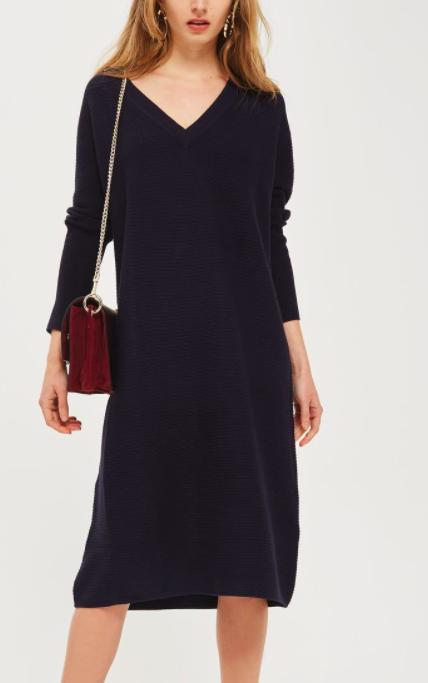 Topshop Knitted V-Neck Midi Dress