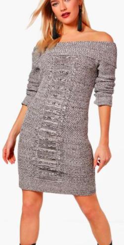 Thea Bardot Cable Front Marl Knit Dress