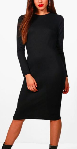 Boohoo Rebecca Midaxi Rib Knit Longsleeve Dress