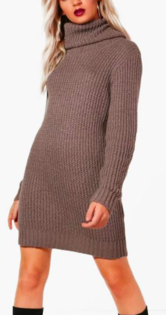 Boohoo Amber Oversized Soft Knit Cowl Neck Jumper Dress