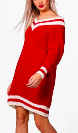 Boohoo Shay Oversized Cricket Knit Jumper Dress
