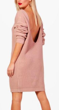 Boohoo Amy V-Back Oversized Jumper Dress