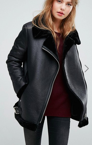 New Look Faux Shearling Suedette Aviator Jacket