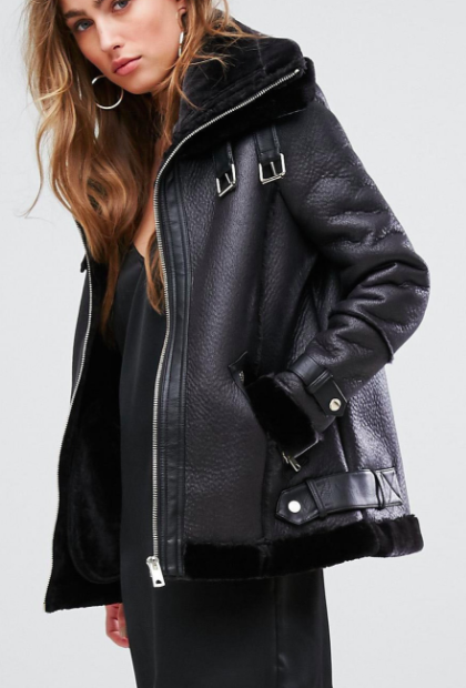 River Island Faux Shearling Aviator Jacket