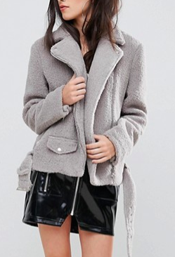 Missguided Faux Shearling Biker Jacket Gray