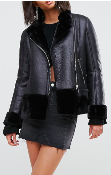 Miss Selfridge Faux Shearling Aviator Jacket