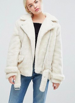 J.O.A Aviator Biker Jacket In Faux Shearling