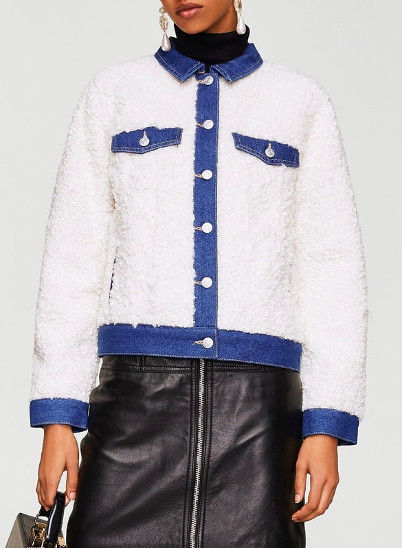 Mango Faux shearling-lined denim jacket