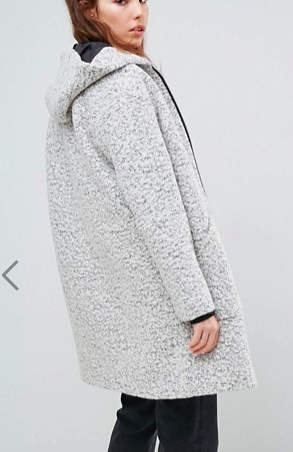 ASOS Hooded Textured Coat With Ring Pull
