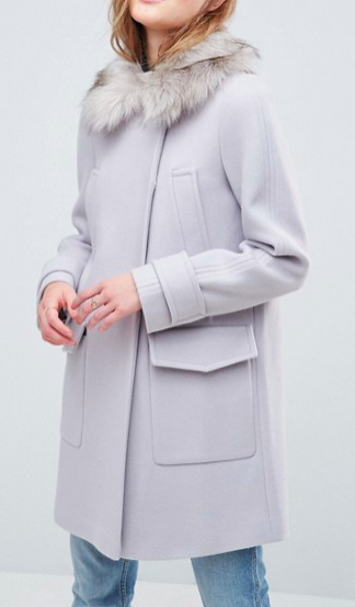ASOS Slim Coat with Faux Fur Trim