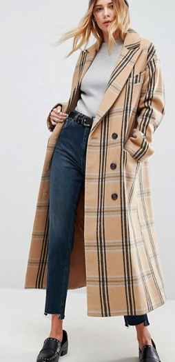 ASOS Wool Coat in Check