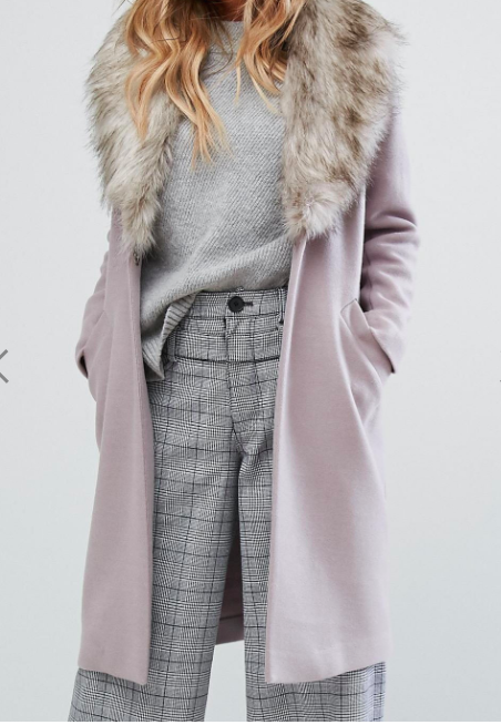 River Island Faux Fur Collar Coat
