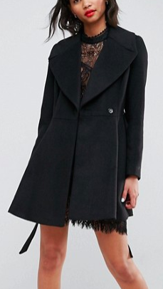 ASOS Skater Coat with Self Belt and Oversized Collar
