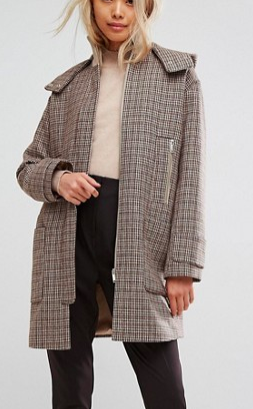ASOS Hooded Check Coat with Rib Funnel Neck