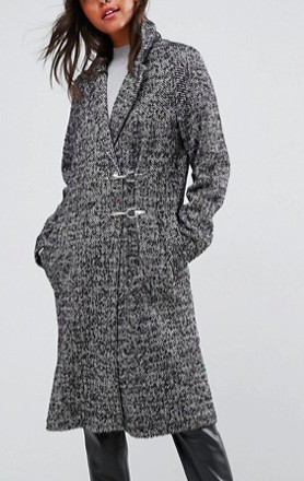 ASOS Coat in Herringbone with Clip Fastenings