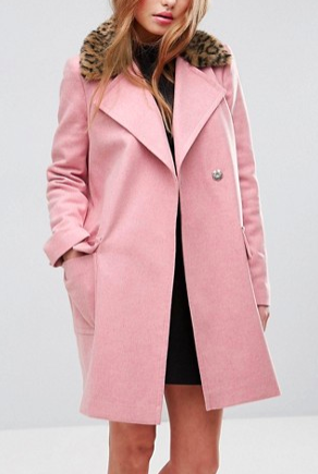 ASOS Coat with Leopard Print Collar