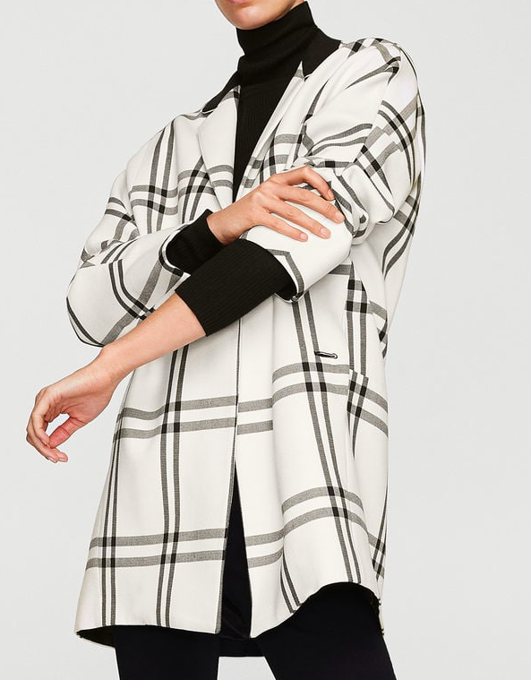 Mango check coat
