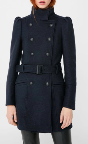 Mango Puffed-shoulder wool coat