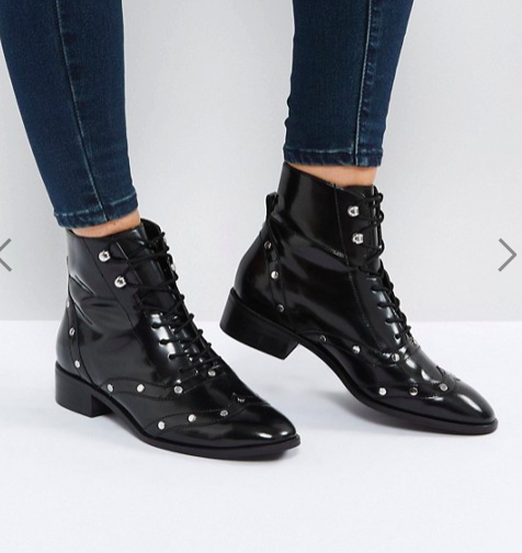 ASOS AXIS Leather Lace Up Flat Boots