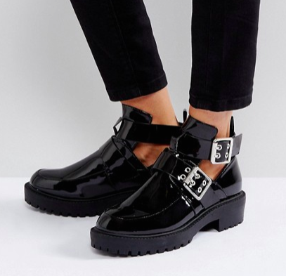 Boohoo Black Patent Boot With Buckle Detail