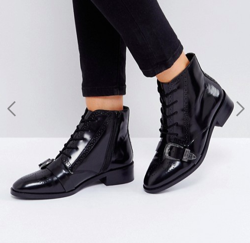 ASOS ADINA Leather Lace Up Boots