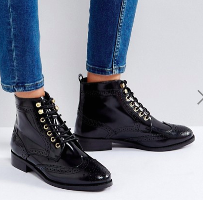 Dune London Quota Lace Up Flat Ankle Boots