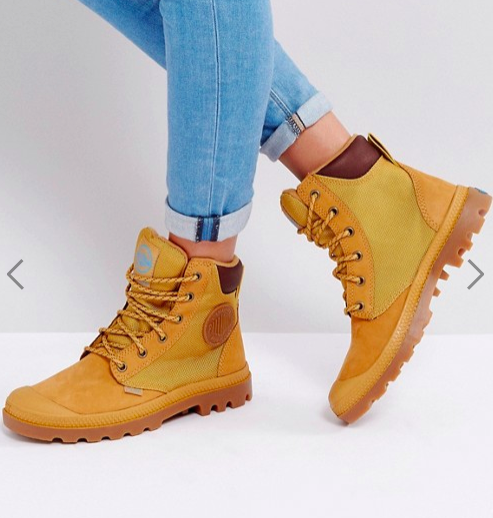 Palladium Pampa Amber Gold Sports Cuff Flat Ankle Boots