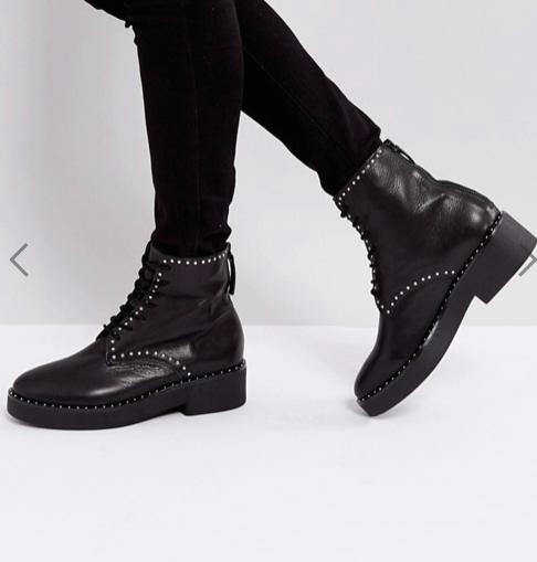 Sol Sana Meret Black Studded Flat Ankle Boots