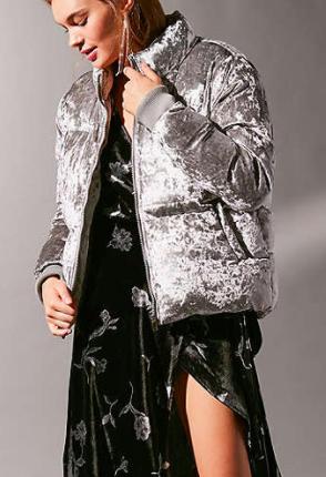 UO Classic Velvet Puffer Jacket