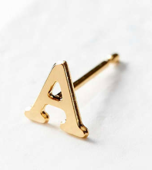 18k Gold + Sterling Silver Initial Post Earring