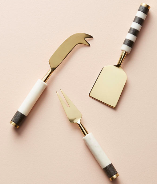 Marble-Blocked Cheese Knife Set