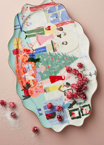 Anthropologie Holiday Spirit Platter