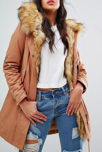 Boohoo Faux Fur Lining Parka Coat