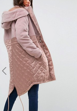 ASOS Parka in Mixed Fabrics