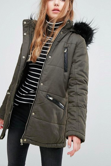 New Look Faux Fur Trim Parka Coat