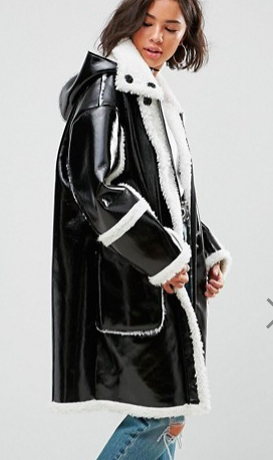 ASOS Oversized Parka In Cracked Vinyl With Borg