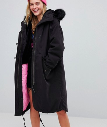 Monki Faux Fur Oversized Parka Jacket