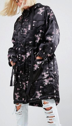 ASOS Parka in Pretty Jacquard