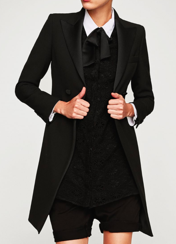 ZARA FROCK COAT WITH CONTRASTING LAPELS