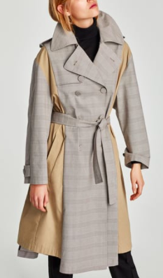 ZARA CONTRASTING FABRIC TRENCH COAT