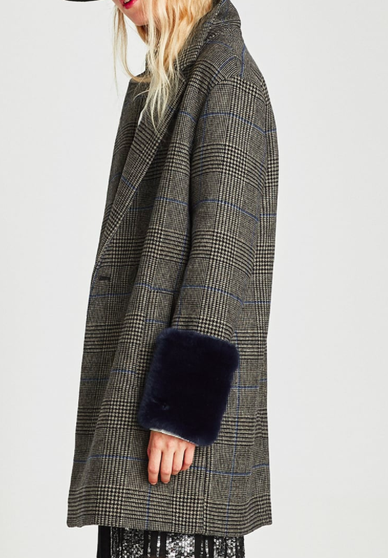 CHECKED COAT WITH TEXTURED CUFFS