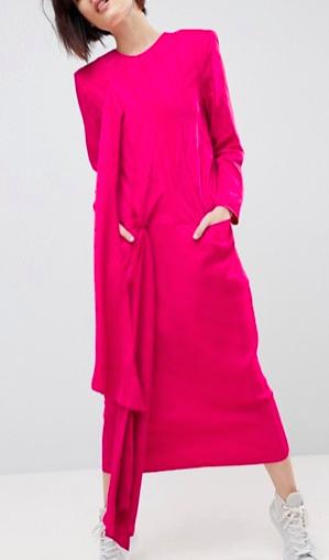 ASOS WHITE Satin Twist Tie Detail Midi Dress