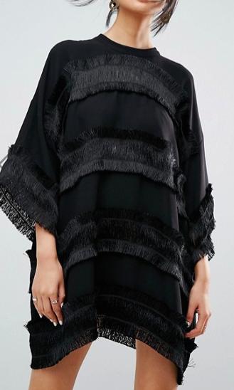 ASOS WHITE Fringe Detail Mini Dress