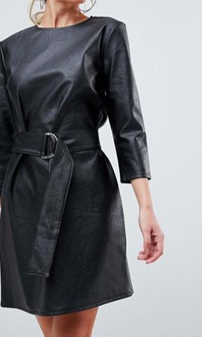 ASOS PU Shift Dress with Belt