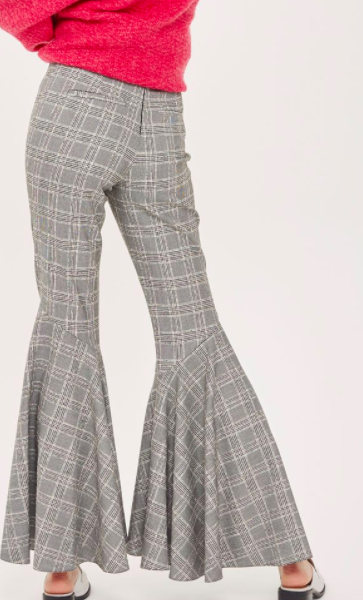 TOPSHOP Checked Super Flare Trousers