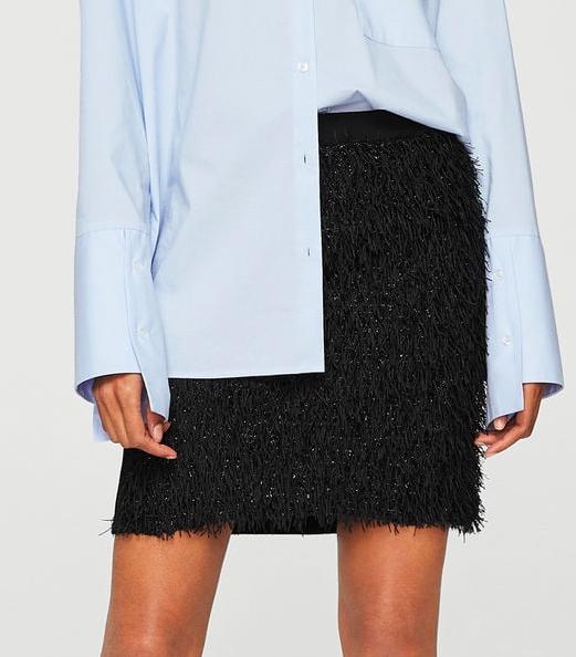 MANGO Fringed skirt