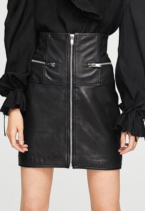 MANGO Zipped leather skirt