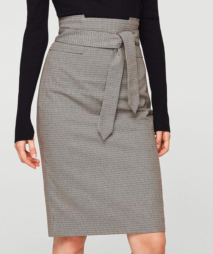 MANGO Micro houndstooth skirt